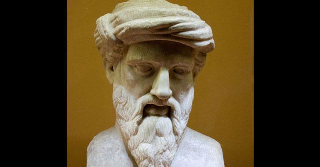 Na fotografiji je prikazan filozof, matematičar: Pitagora